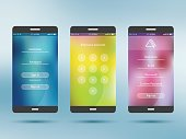 Mobile application UI kit collection set. Join us screen, number security screen, profile settings screen, social login screen. Design in vector illustration.