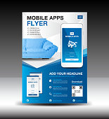 Mobile Apps Flyer template. Business brochure flyer design layout. smartphone icon mockup. application presentation. furniture magazine ads. Blue cover. poster. leaflet. advertisement. in A4
