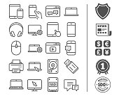 Mobile Devices line icons. Set of Laptop, Tablet PC and Smartphone signs. HDD, SSD and Flash drives. Headphones, Printer and Mouse symbols. Chat speech bubbles. Bonus classic signs. Editable stroke