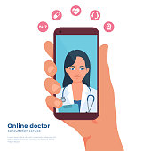 Mobile doctor illustration. Mobile medicine. Hand holding smartphone with young woman doctor on device screen. Video chat with medic. Flat design graphic concept. Vector eps 10.