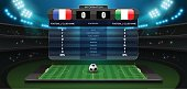 mobile football live with scoreboard and spotlight vector illustration