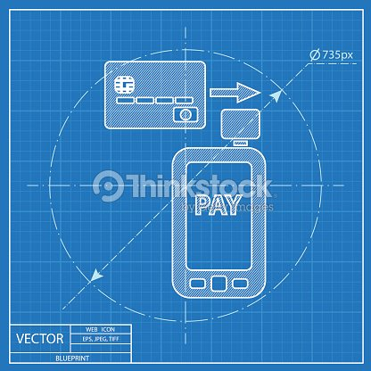 Mobile payment credit card reader on smartphone scanning blueprint credit card reader on smartphone scanning blueprint icon vector art malvernweather Choice Image