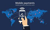 Mobile payments around the world. Infographic. Vector illustration.