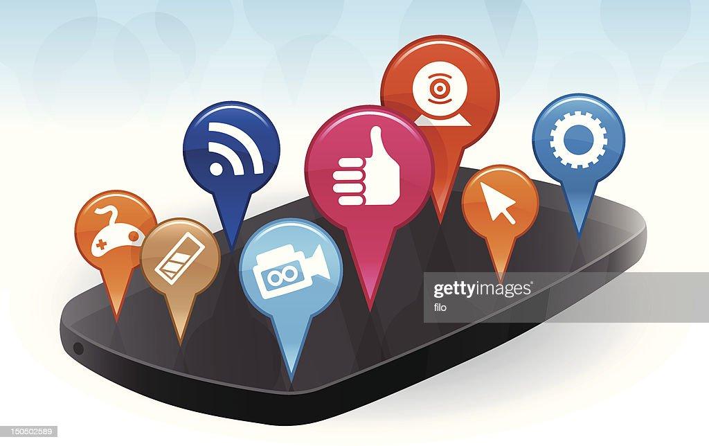 Mobile Phone Apps : Vector Art