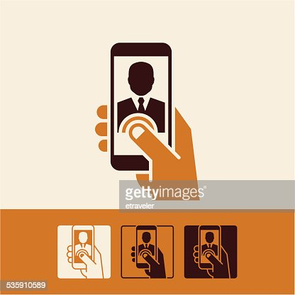 mobile phone hand : Vector Art