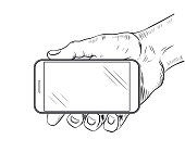 Mobile phone in hand front view. Sketch of human hand which is holding empty smartphone. Vector