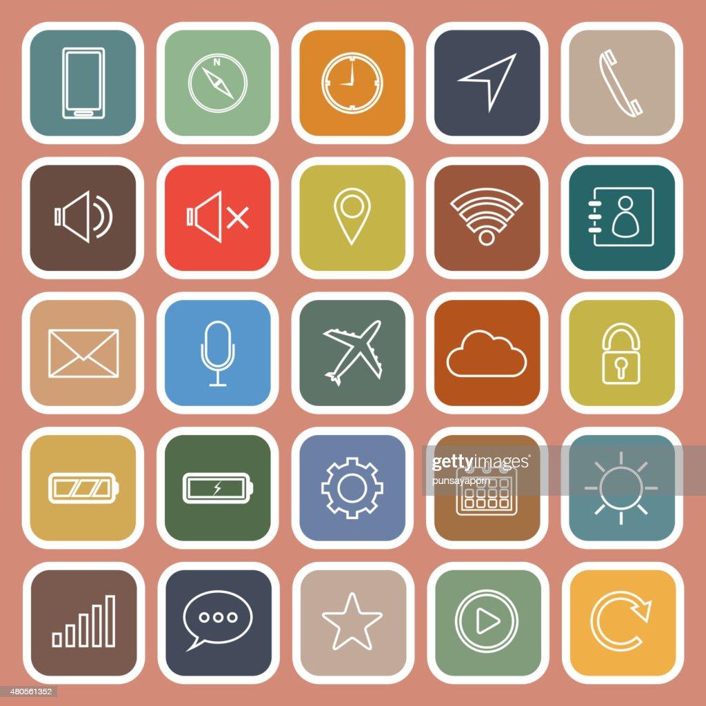 Mobile phone line flat icons on orange background : Vector Art