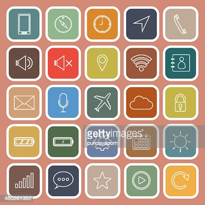 Mobile phone line flat icons on orange background : Vector Art