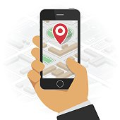 Hand holds smartphone with city map gps navigator on smartphone screen. Gps navigation app on mobile phone. Tracking system. Mobile GPS Navigation concept.