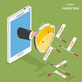 Mobile protection flat isometric vector concept. Man hand with a shield appeared from smartphone to defend it from flying arrows with the captions as phishing, virus, botnet, spyware, ransomware.