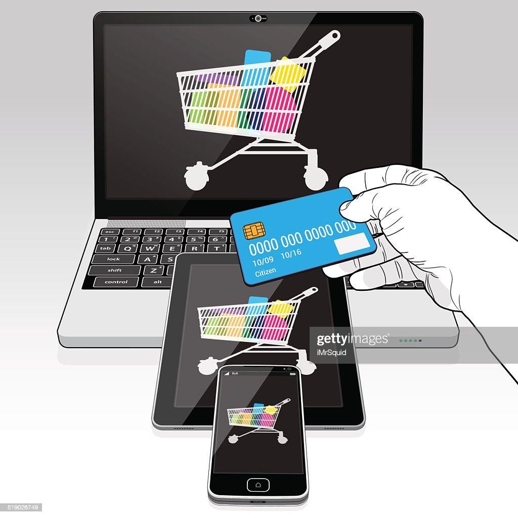 Mobile shopping online vector art getty images for Shopping mobili online