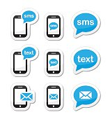 Messaging, sending text messages black and blue labels set