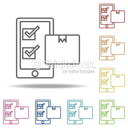 Mobile Transport Icon Elements Of Global Logistics In Multi Color