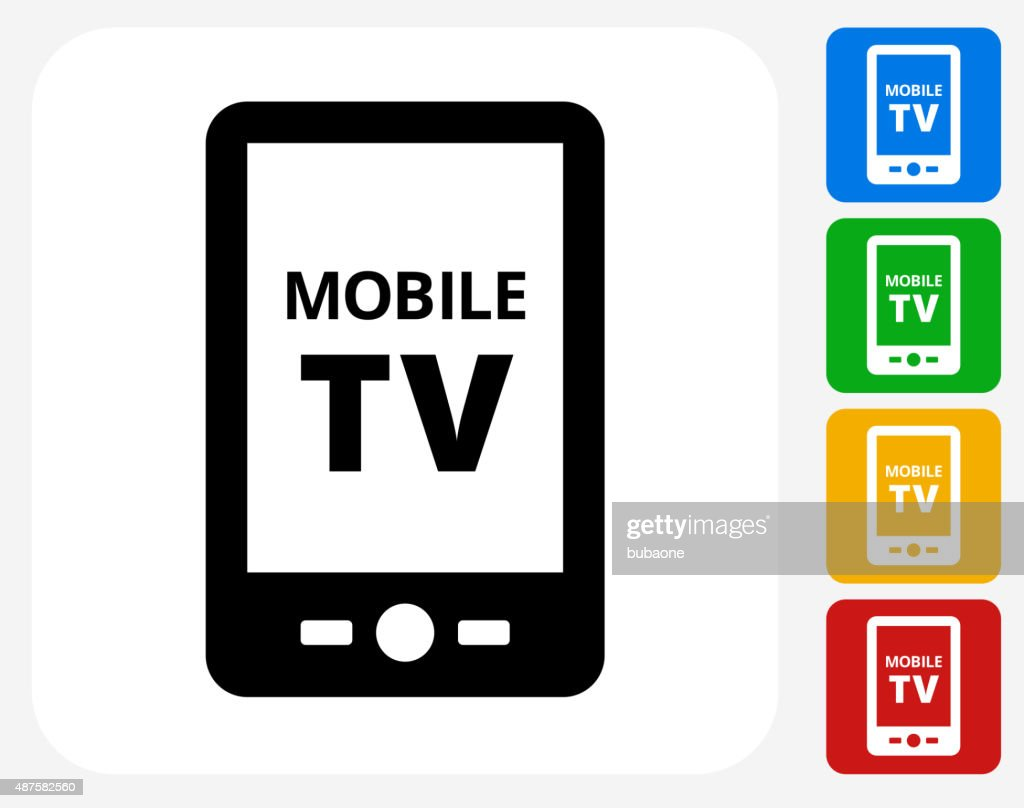 Mobile Tv Icon Flat Graphic Design Vector Art  Getty Images