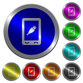 Mobile usb connection icons on round luminous coin-like color steel buttons