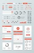 Flat Mobile Web UI Kit. Widgets, Icons, Buttons