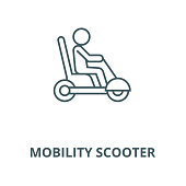 Mobility scooter vector line icon, outline concept, linear sign