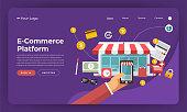 Mock-up design website flat design concept digital marketing. E-Commerce Platform. Vector illustration.
