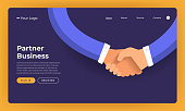 Mock-up design website flat design concept partner business deal.  Vector illustration.