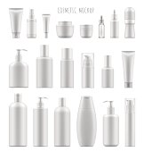 Set vector blank templates of empty and clean white plastic containers: bottles with spray, dispenser and dropper, cream jar, tube. Realistic 3d mock-up of cosmetic package.