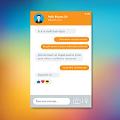 Mockup of mobile messenger, screen app messenger template mobile  on colorful background.