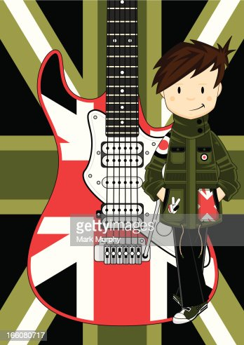 Mod Girl In Parka With Union Jack Guitar Vector Art   Getty Images