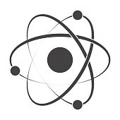 Model atom concept for molecular chemistry or physic, vector silhouette