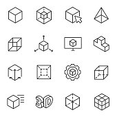 3D modeling icon set, 3-dimensional model, thin line design.