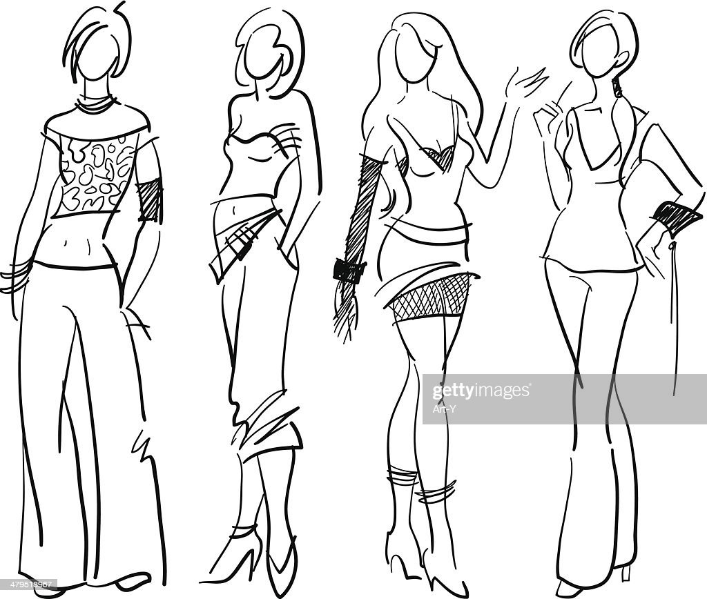 Line Art Fashion Design : Models sketchy style vector art getty images