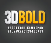 Modern 3d bold font in vector format