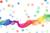 modern abstract line , wavy background and full color ball