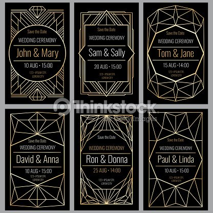 Modern abstract vector backgrounds in art deco style classy wedding modern abstract vector backgrounds in art deco style classy wedding invitations with geometric frame stopboris Images