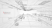 Modern architecture wireframe. Concept of urban wireframe. Wireframe building illustration of architecture CAD
