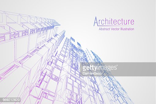 Modern architecture wireframe. Concept of urban wireframe. Wireframe building illustration of architecture CAD drawing : Vector Art