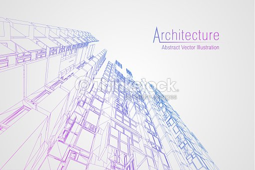 Modern architecture wireframe. Concept of urban wireframe. Wireframe building illustration of architecture CAD drawing : stock vector
