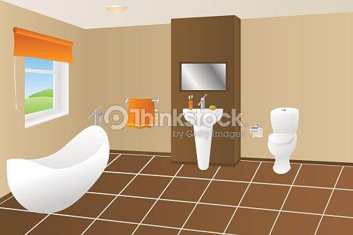 . Modern Bathroom Beige Brown Bath Orange Towel Sink Toilet Window