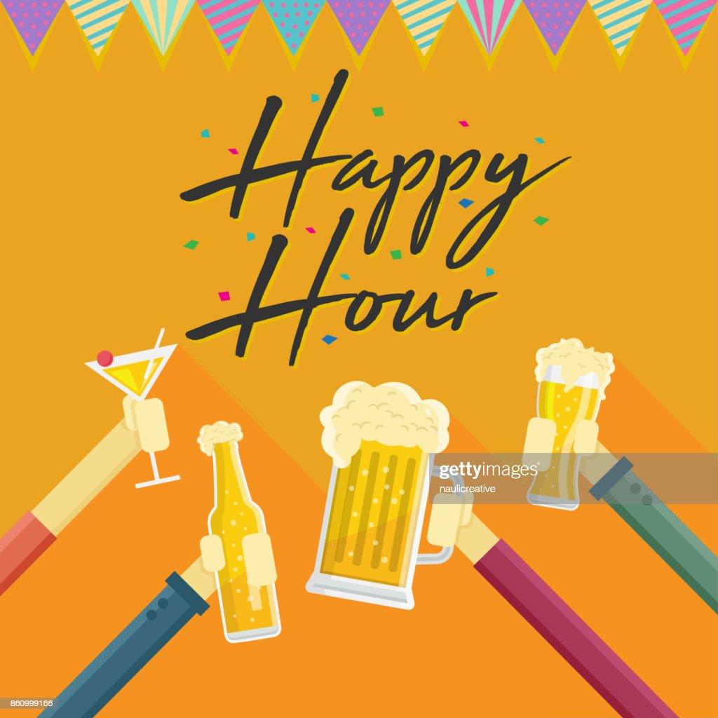 Modern Beer Happy Hour Card Illustration : Vector Art