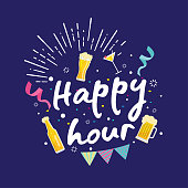 Modern Beer Happy Hour Card Illustration, Suitable For Social Media, Poster, Banner, Festival, Event, And Other Beer Related Occasion
