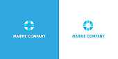 Modern blue flat lifebuoy silhouette logo as a symbol of marine rescue. Simple isolated vector lifebelt icon of survival equipment as a logotype design for nautical ship companies