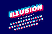 Modern bold 3d font Illusion, alphabet letters and numbers, vector illustration