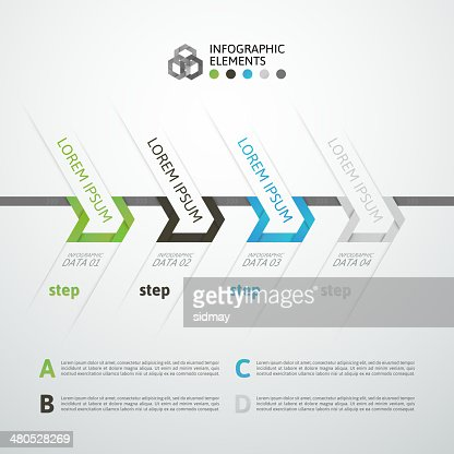 Modern business step origami style options banner : Vector Art