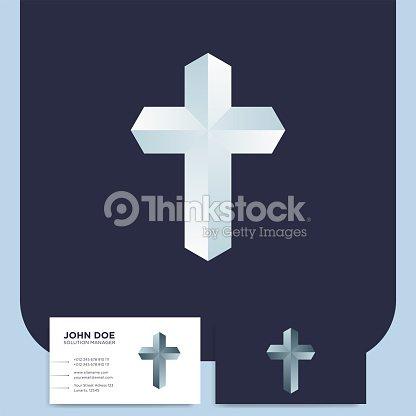 Modern Church 3d Cross Logo Christian Symbol For Baptist Or Lutheran