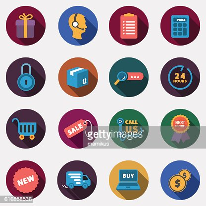 Modern circle colorful shop icons with shadow : Vector Art
