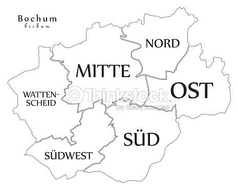 Modern City Map Bochum City Of Germany With Boroughs And Titles De