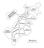 Modern City Map - Boston Massachusetts city of the USA with boroughs and titles outline map