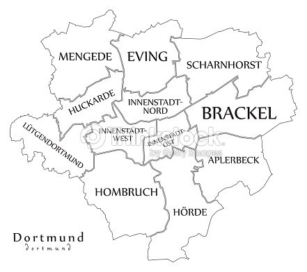 Dortmund On Map Of Germany.Modern City Map Dortmund City Of Germany With Boroughs And Titles De