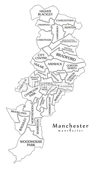 Modern City Map Manchester City Of England With Wards And Titles Uk ...