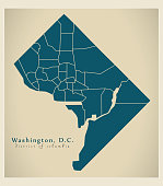 Modern City Map - Washington DC city of the USA with neighborhoods