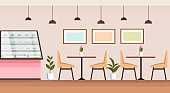 modern coffee shop empty no people cafeteria interior bakery store with showcase tables and chairs flat horizontal vector illustration