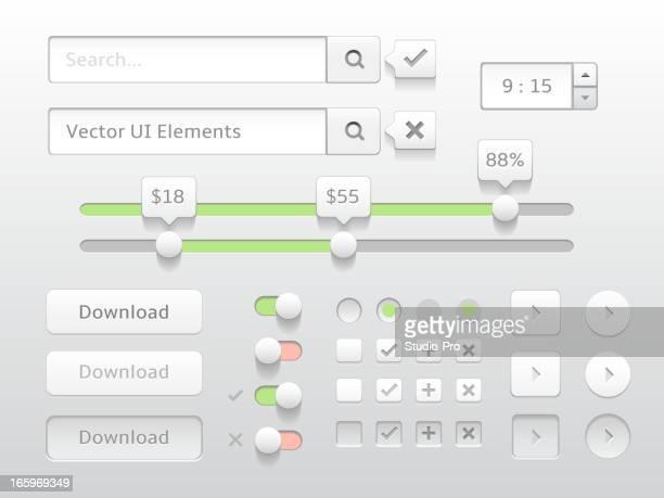 Moderno colección de elementos web mínima blanco